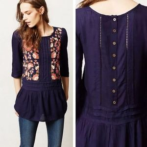 Anthropologie Floreat Luana Embroidered Top Blue